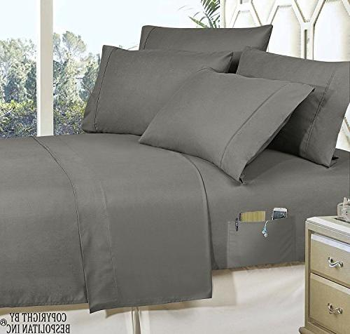 6-Piece Bed-in-a-Bag on Elegant - Silky Set Includes Set Storage Pockets, Twin/Twin Gray