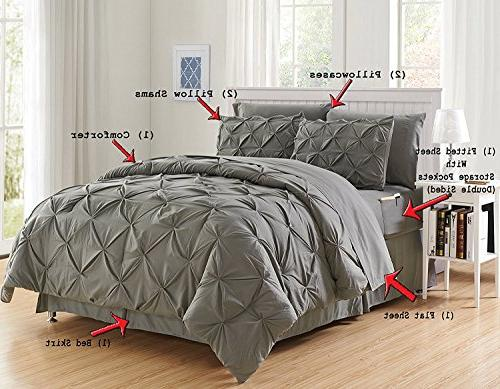 Luxury Best, Softest, 6-Piece Bed-in-a-Bag on - Set Set Double Sided Storage Pockets, Twin/Twin XL, Gray