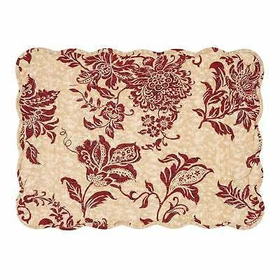 Marissa Cotton Quilted Placemat Set of 6 Tan, Red, Burgundy