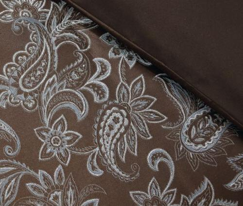 Tuscany 7-Piece Blue Paisley Floral Jacquard or Curtain