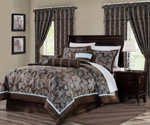 tuscany 7 piece blue brown paisley floral