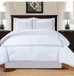 Superior Layla Trellis Embroidered Comforter Set with Pillow