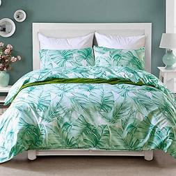 NOKOLULU Leaves Duvet Cover Set Tropical Palm Tree Fronds an