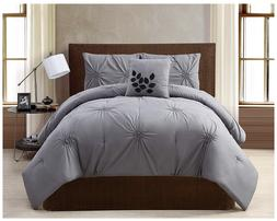 VCNY London 4 Piece Comforter Set Queen Gray Grey bed in a b