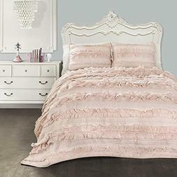 Lush Decor Belle 3 Piece Ruffled Shabby Chic Blush Comforter