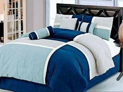 Chezmoi Collection 86 by 88-Inch 8-Piece Luxury Stripe Comfo