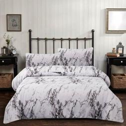 Marble Comforter Set Queen Gray White Marble Printed Bedding