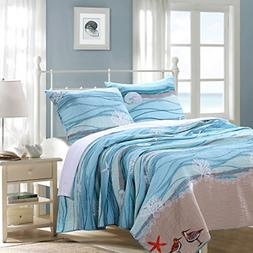 Greenland Home Maui Quilt Set, Full/Queen, Blue