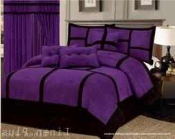 Micro Suede Purple Black Patchwork Comforter Set All Sizes 7