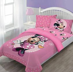 4pcs minnie mouse comforter fitted sheet pillow