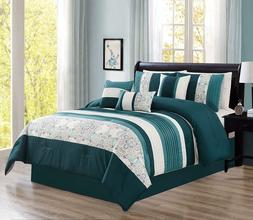 Modern 7 Piece Oversize Comforter Set Bedding with Accent Pi