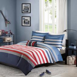 New 4 Piece Red White and Blue Stripe Full / Queen Size Comf