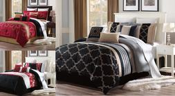 NEW BED COLLECTION 3PC EMBROIDERY DUVET COMFORTER BED COVER