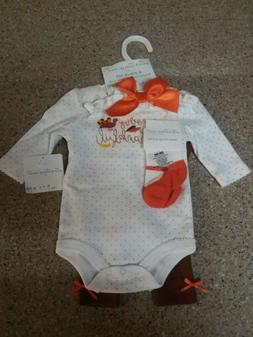 Newborn Baby Girl Thanksgiving Outfit 4 Piece Set Adorable S