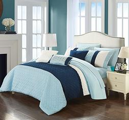 Chic Home Osnat 10 Piece Comforter Set Color Block Quilted E