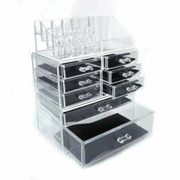 Plastic Table Cosmetics Storage Rack with 4 Small & 3 Large