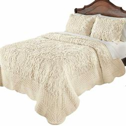 Plush Quilt Bedding Elegant Ultra Soft Faux Fur with Scallop