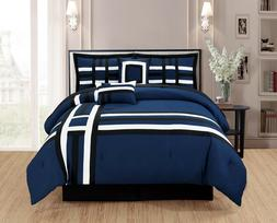 Premium Blue Comforter Set, 100% Polyester, 6 Pieces, Bed in