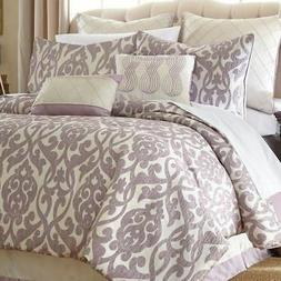 Queen King Bed Lavender Purple Cream Ivory Damask 8 pc Comfo