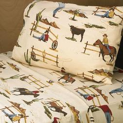 4pc Queen Sheet Set for Wild West Cowboy Bedding Collection