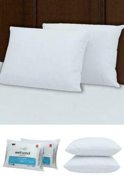 Queen Size Extra Firm Support Pillow Set of 2 Bed Neck Head