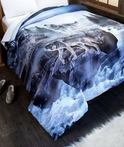 Queen Wolf Pack  Comforter Nature Black Gray White & Blue Be