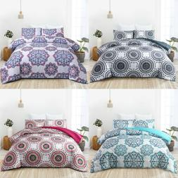 Quilted Mandala Comforter Set with Pillow Shams Down Alterna