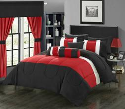 Red, Black White Chic Home 20-Piece Whitehall Bed In a Bag C
