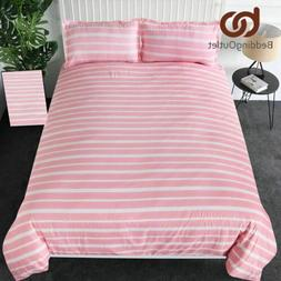 Striped Bedding Set Pink Comforter Cover and Shams for Girls
