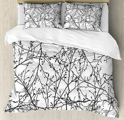 Tree Duvet Cover Set with Pillow Shams Branches with Leaves
