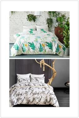 Tree Leaf Duvet Cover Set Marble Bedding Green Floral Plants