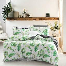 Wake In Cloud - Tree Leaves Duvet Cover Set, 100% Cotton Bed