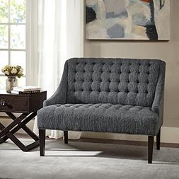 Madison Park Tristan Button Tufted Settee Charcoal See below
