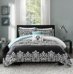 Twin XL Full Queen King Teal Blue Black White Damask 5 pc Co