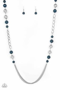 """Paparazzi """"Uptown Talker - Blue"""" Over-sized Silver Beads Nec"""