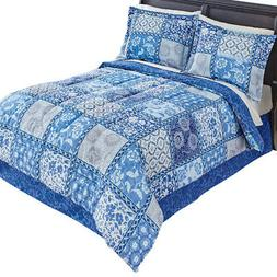 Venice Blue Comforter Set With Bedskirt, by Collections Etc